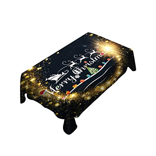 Iusun Christmas Tablecloth/Chair Cover Rectangular Printed Kitchen Dinning Tea Table Cloth Toppers Decorative for Family Gathering Party Holidays (A)