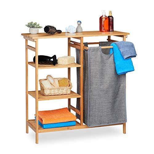 Relaxdays Badregal mit Wäschekorb, Bambus, 4 Ablagen, entnehmbarer Wäschesammler, HBT: 80,5 x 80 x 33,5 cm, natur/grau