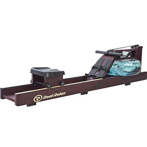 Real Relax Water Rowing Machine for Home Use, Water Adjustable Resistance Rower with LED Moniter for Full-Body Workout, Cardio Training Gym Fitness Indoor (Rower Cover Included), Dark Red Wood