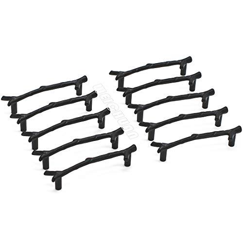 WEICHUAN 10PCS Zinc Alloy Black Twig Branch Zinc Alloy Decorative Cabinet Wardrobe Furniture Door Drawer Knobs Pulls Handles Hardware DÃcor (10PCS Black Pulls)