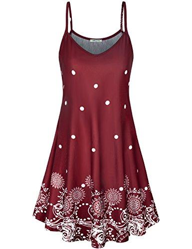 SeSe Code vestido feminino casual com alças finas estampa floral verão praia rodado, Vermelho, Medium
