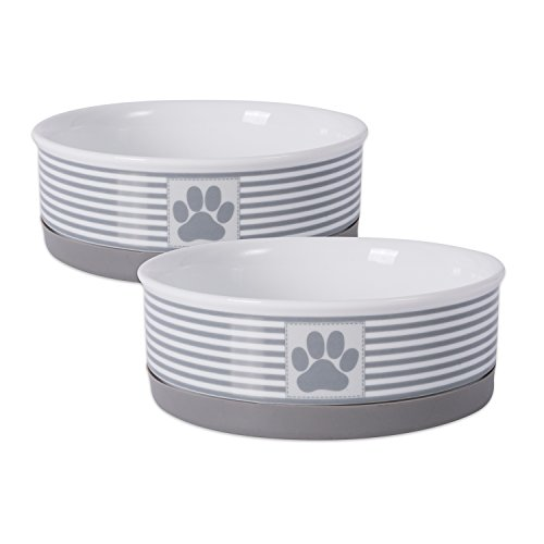 Bone Dry Paw Patch & Stripes Ceramic Pet Bowl & Canister Collection, Medium Bowl Set - 6 x 6 x 2', Gray, 2 Piece