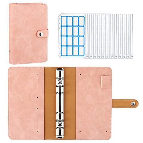 MoKo 6 Löcher Binder Notizbuch, A6 PU Leder Loseblatt Notizbuch Binder Notebook mit 12 Stück Binder Taschen Transparenten Plastik Binderumschlägen Etikettenaufklebern – Grau