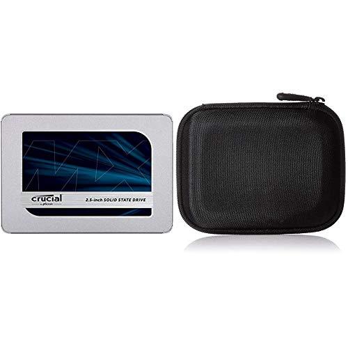 Crucial MX500 2TB CT2000MX500SSD1(Z)-bis zu 560 MB/s (3D NAND, SATA, 2,5 Zoll, Internal SSD) & AmazonBasics Festplattentasche, schwarz