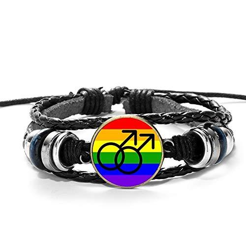 RelianceUK Orgullo Gay LGBT Bandera del Arco Iris Pulsera Hecha A Mano Brazalete Negro Multicapa Pulsera De Cuero Trenzado Hombres Mujeres Pulsera Unisex