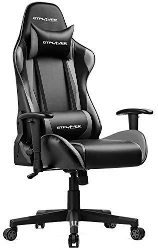 GTPLAYER Gaming Stuhl Bürostuhl Schreibtischstuhl Kunstleder Drehstuhl Chefsessel Höhenverstellbarer Gamer Stuhl Ergonomisches Design (Schwarz-Grau)