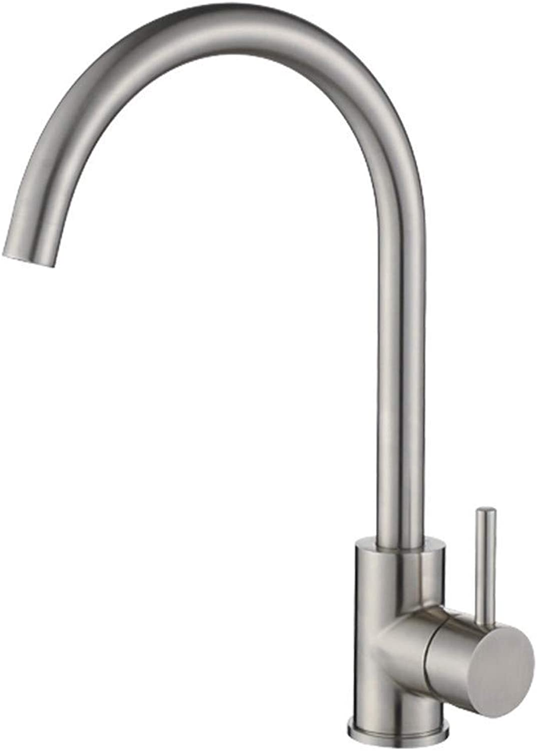 304 Stainless Steel Hot Water Mixer, Kitchen Faucet Kitchen Sink Flaps Stainless Steel Single Handle redatable