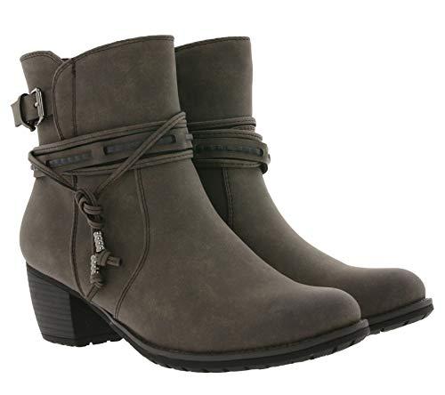 Arizona Stiefelette Elegante Boots Damen Stiefel mit verzierter Fessel Schuhe Booties Grau, Größe:36