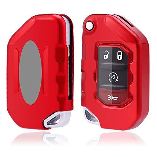 Royalfox(TM) 2/3/4 Buttons Soft TPU flip Folding Remote Key Fob case Cover for Jeep 2020 2021 Gladiator JT Sahara JLU, for 2018 2019 2020 2021 Jeep Wrangler JL JLU Rubicon (red)