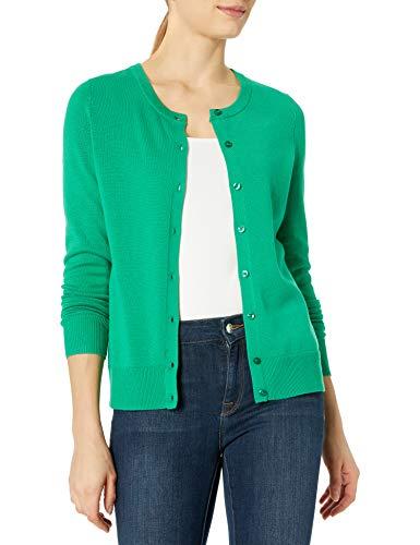 Amazon Essentials Lightweight Crewneck Cardigan Sweater Sweaters, Verde, US M (EU M-L)