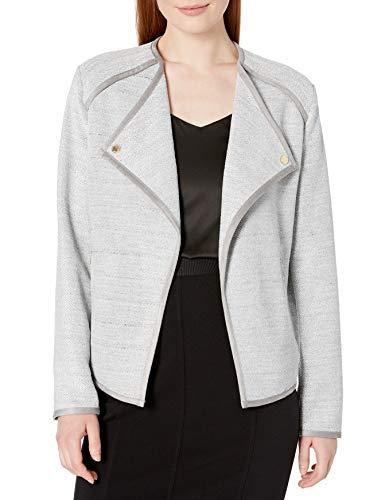 Calvin Klein Flyaway – Chamarra de Gamuza para Mujer, Granito Jaspeado, L