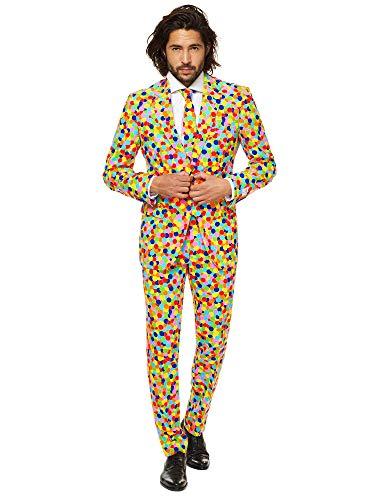 OppoSuits Lustige Verrückt Abschlussball Anzüge für Herren - Komplettes Set: Jackett, Hose und Krawatte,Mehrfarbig,50