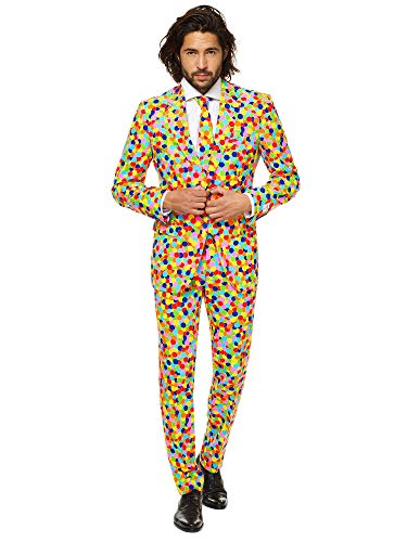 OppoSuits Herren Crazy Prom Suits for Men – Confetteroni – Comes with Jacket, Pants and Tie In Funny Designs Männeranzug, Mehrfarbig, 46