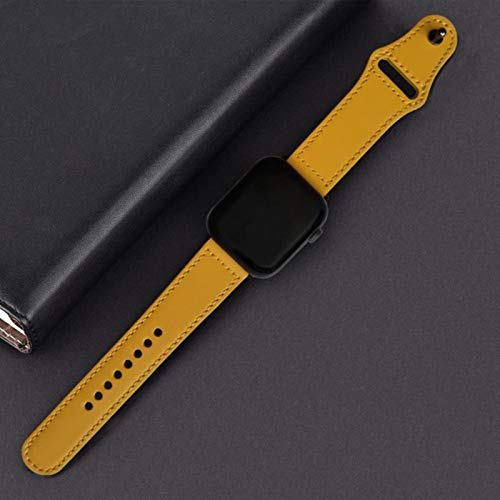 Correa para iwatch band Bucle de cuero genuino 42 mm 38 mm correa de reloj para iwatch 44 mm 40 mm serie se 6 5 4 3 2 1 pulsera cinturón-amarillo limón, 38 mm serie 1 2 3