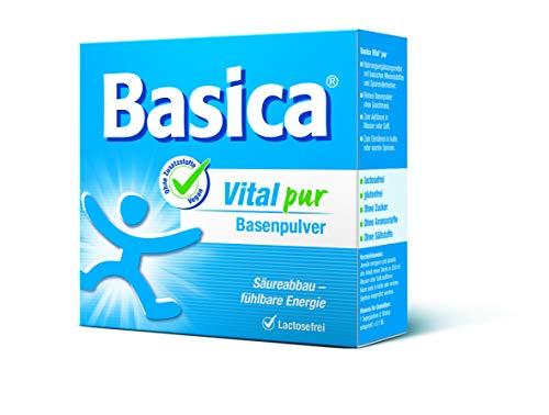 Basica Vital pur, reines Basenpulver reich an Mineralstoffen und Spurenelementen, für Diät, Basenfasten und Detox, vegan, laktosefrei, zuckerfrei, ohne Zusatzstoffe, natürlich pur, 50 Sticks