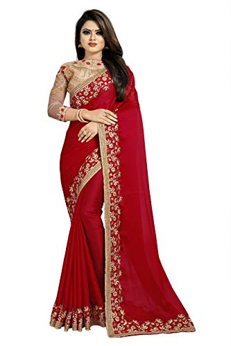 skyviewfashion Damen Partei Zu Tragen Indische Ethnische Sari Bollywood Designer Hochzeit Saree|rot|Einheitsgröße