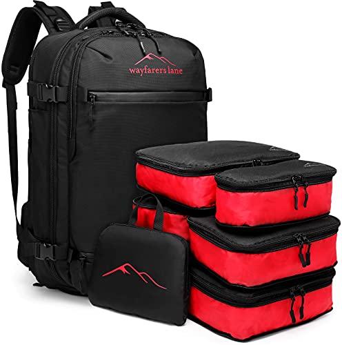 wayfarers lane Carrier - All-In-One - 8 in 1 Set - Carry On Handgepäck Reise-Rucksack mit 5 Packing Cubes, Falt-Rucksack und Schuh- und Powerbankfach - 40 + 20 Liter, geeignet als Boardgepäck