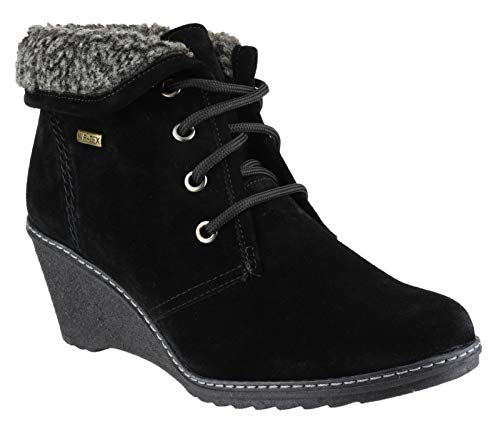 Cotswold Ladies Batsford Lace Up Leather Faux Fur Lined Boot Black