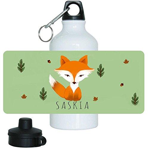 Trinkflasche mit Namen Saskia und schönem Motiv mit Fuchs im Aquarell-Stil für Mädchen | Aluminium-Trinkflasche