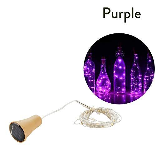 10LED/15LED/20LED Garland Solar Wine Bottle Lights Solar Cork Fairy Lights Christmas Light Copper Garland Wire String - purple,10LED 1M