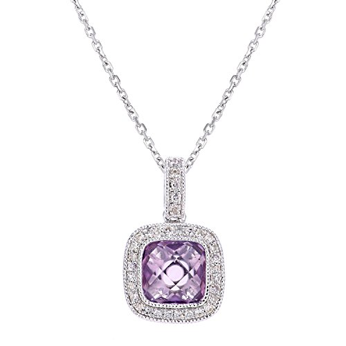 Naava Women's 9 ct White Gold Square Cut Diamond and Amethyst Pendant Necklace