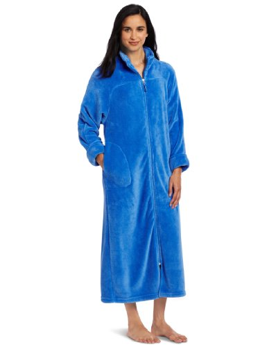"Casual Moments Women's 52"" Breakaway Zip Front Robe, Blueberry, Large"