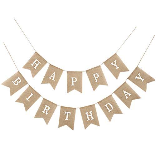 Demarkt - Guirnalda de banderines para fiestas de cumpleaños con texto 'Vingtage Happy Birthday', Blanco., 13*18cm