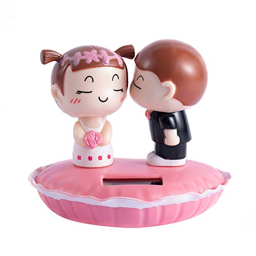 LL-partner Solar Bobblehead Dolls-Lovers Kiss Dashboard Dancing Toy-Creative Car Decoration Accessories-for Home Windows,Office Desk,Auto,Lovers Present