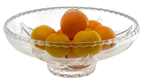 Amlong Crystal Lead Free Crystal Fruit Bowl, 12.5 inch Diameter