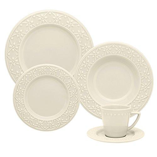 1 Aparelho de Jantar e Chá 30 Peças Oxford Daily Mendi Marfim Marfim