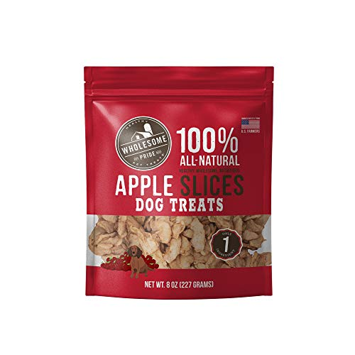 Wholesome Pride Apple Slices 8 oz - All Natural Healthy Dog Treats - Vegan, Gluten and Grain-Free Dog Snacks