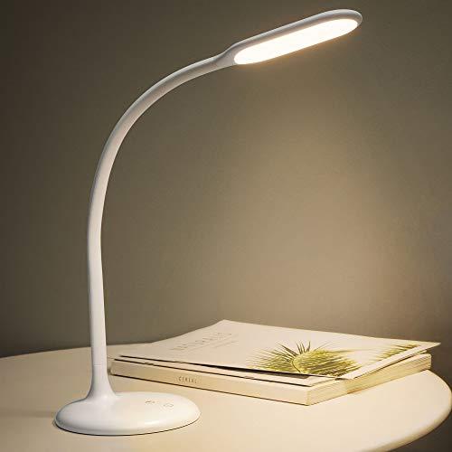Gladle LED Schreibtischlampe für Kinder Kabellos, Augenschonende Tischlampe, Akku aufladbar, 30min Timer, Verstellbarer Schwanenhals für Büro und Schlafzimmer, 2700-6500K (Weiß)