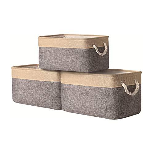 Stoff-Aufbewahrungskörbe mit Baumwollseilgriff, Regalkörbe zur Aufbewahrung, faltbare Körbe für Spielzeug, Kleidung - 40 (L) x 30 (B) x 20 (H) (goldgrau)