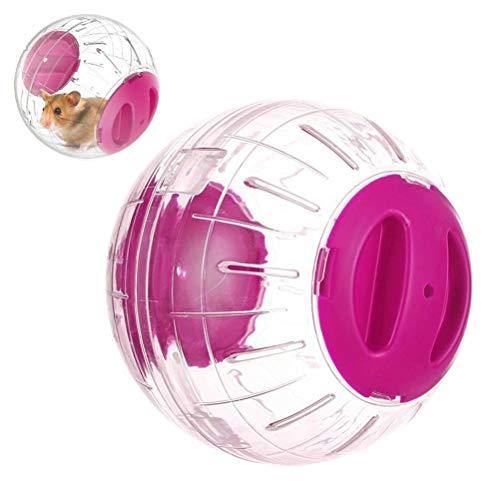 Toruiwa. 1x Hamster Klar Runde Ball Hamster Spielzeug Haustiere Produkt Kleine Laufen Kugel Fitness Training Rad Fit für Kleine Haustiere(12cm,Rosa)