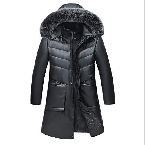 Nieuwe Heren Winter Leer Donsjack Afneembare Hooded Jacket Grote Maat Dikke Warm Bont Kraag Lange Donsjas, Zwart Warm Jas