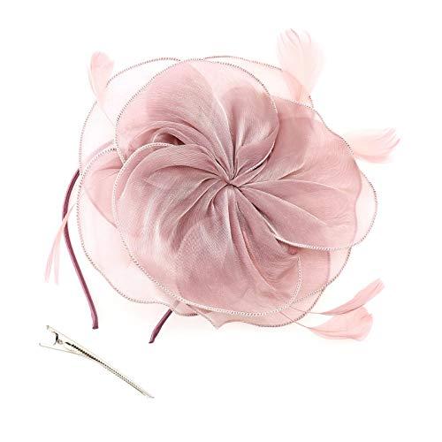 OTOTEC Chapeau bibi rose avec fleur et plumes - Accessoires pour cheveux avec pince à cheveux et rubans en maille - Pour mariage, thé ou fête