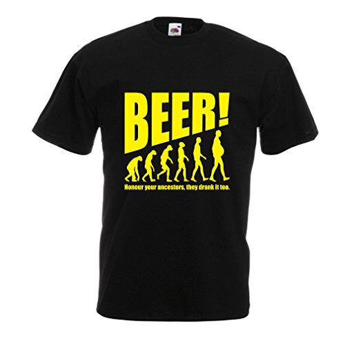 T-Shirt pour Hommes The Beervolution - des idées de Cadeaux sarcastiques Uniques pour Les Amateurs de bière, lévolution de la Boisson (Medium Noir Jaune)