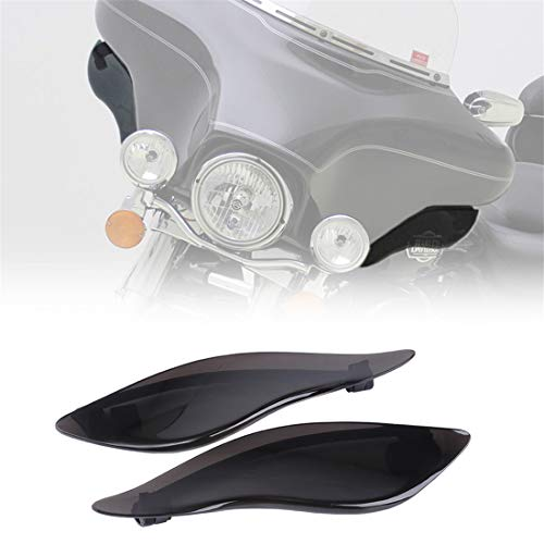 KIWI MASTER New Adjustable Air Deflectors Side Wings Windshield Fairing Side Cover Shield Compatible for 2014-2021 Harley Touring Electra/Street/Tri Glide CVO,Dark Smoke