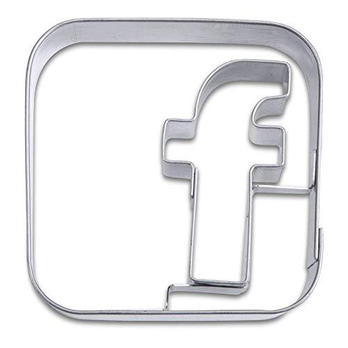 Staedter App Social Media Embossing Cookie Cutter, 6,5 cm, roestvrij staal, Zilver, 6,5 x 6,5 x 6,5 cm