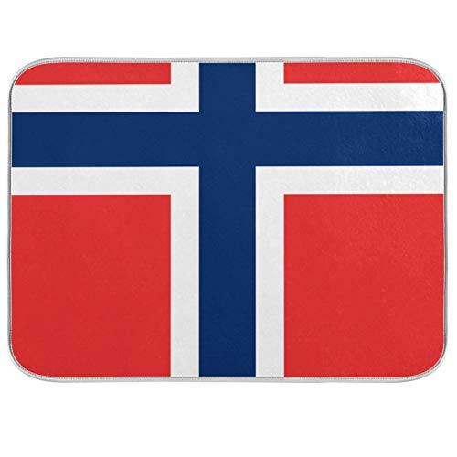 Estera de microfibra para secar platos, extra grande, súper absorbente, diseño de doble cara para cocina, bandera de Noruega de 18 x 24 pulgadas