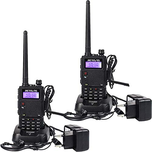 Retevis RT5 Walkie Talkie Recargable Largo Alcance Banda Dual 128 Canales Función VOX Radio FM LED Linterna Walkie Talkie...