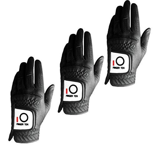 Finger Ten Herren Golfhandschuhe, Regengriff, 3 Stück, Schwarz / Weiß, für Linkshänder, Rechtshänder, Allwetter langlebiger Griff, Größe S, M, L, XL, Schwarz , m