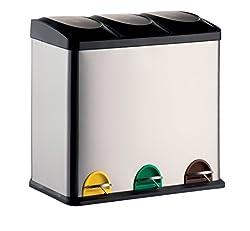 MSV Mülleimer Mülltrennsystem Mülltrennung mit Deckel 60 L (3x20 Liter) mit Inneneimer große Abfallbehälter Abfalleimer Treteimer Edelstahl