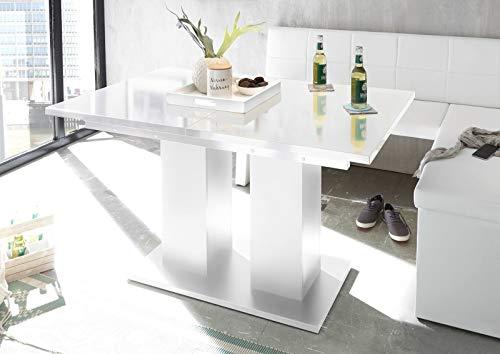 Reboz Esstisch Esszimmertisch in Weiß Hochglanz 80 x 130 cm ausziehbar