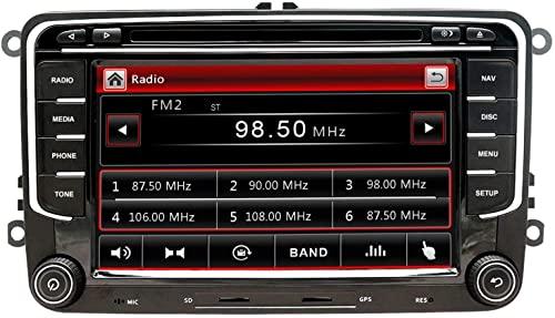 NVGOTEV Autoradio mit Navigationssystem ist kompatibel mit VW Golf, 2 Din Radio mit 7 Zoll Touchscreen Monitor, unterstützt Lenkradsteuerung Mirrorlink Bluetooth CD DVD