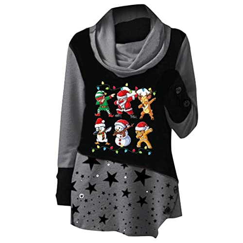 Mujer Casual muñeco de nieve impreso manga larga vestido tops de corte holgado casual suéter tops sudaderas blusa manga larga tops blusa tops, gris, XXL
