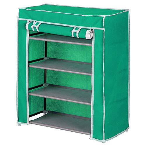 BAKAJI Scarpiera Armadio Salvaspazio 4 Ripiani 60x30x75cm Scaffale Porta Scarpe Struttura Metallo e Rivestimento in Tessuto TNT Impermeabile con Chiusura Zip Antipolvere (Verde)