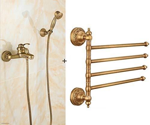 AXWT Montado en la pared de baño de latón grifo de la ducha, de cobre puro de vuelta estante de toalla de baño toalla Actividad barra colgante de toallas Europea estilo retro de cuatro polos, Instalac