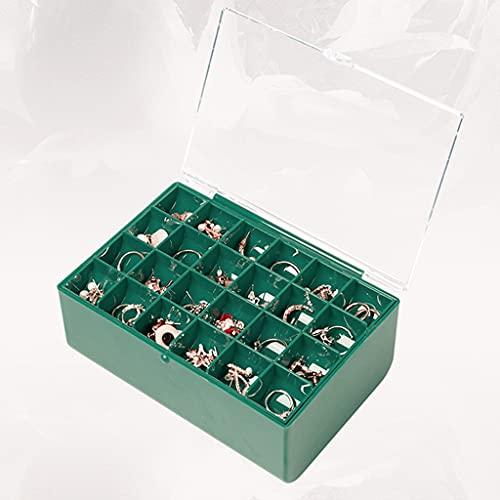 QIFFIY Caja de joyería Verde con Cubierta Superior Transparente 18 * 13.2 * 7,3cm, Caja de Almacenamiento de Joyas de Damas, Caja de plástico a Prueba de Polvo Impermeable