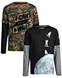 TONY HAWK Boys T-Shirt - Cotton Layered Long Sleeve Graphic Tee (2 Pack), Size 10/12, Astronaut/I Can and I Will'